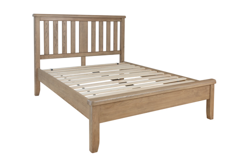 Hatton Oak Bed with Headboard and Low Footboard Set