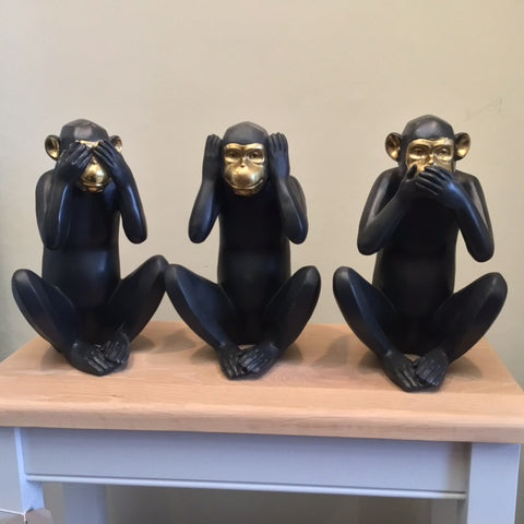 Concepts Black and Gold Large See no evil, Hear no evil, Speak no evil Monkeys