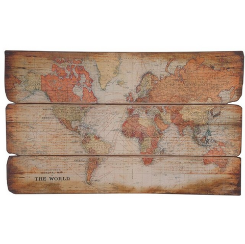 Concepts Large Wooden World Map