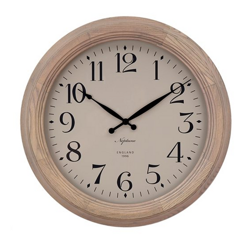 Neptune Harrison Seasoned Oak Wall Clock - Various Sizes