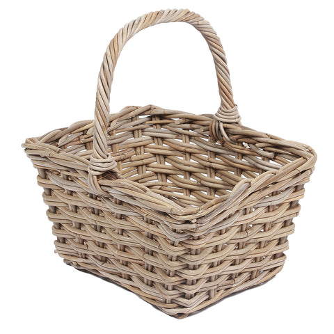 Concepts Wicker Square Basket with High Handle 2x2 Weaving