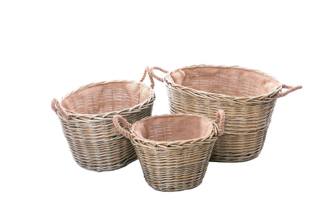 Concepts Wicker Set of 3 Log Baskets
