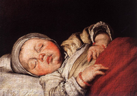 Painting of a child sleeping