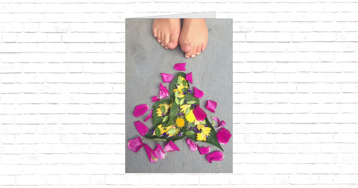 Flower Art with Toes Folded Card