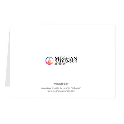 Meghan Nathanson Artistry color photo of child's hands holding a small crab coming out of its shell on folded greeting card