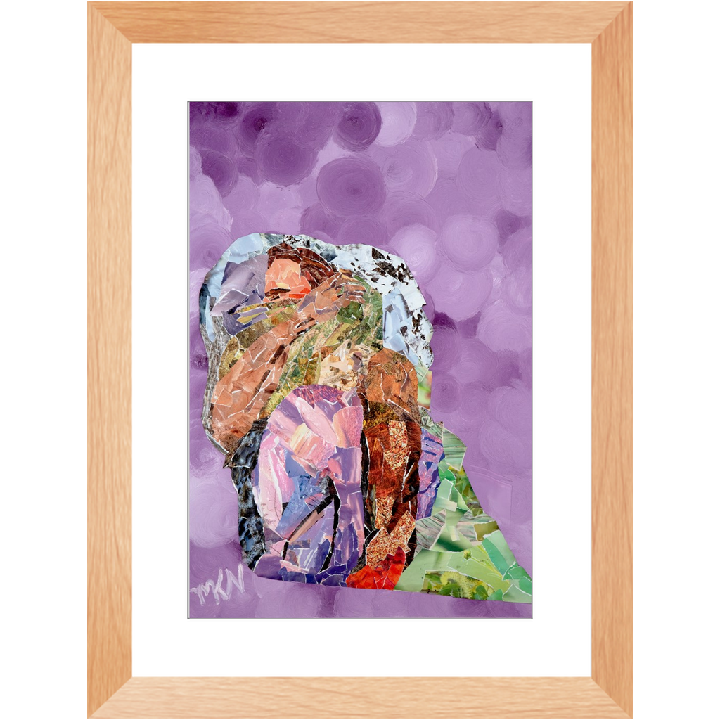 Meghan Nathanson Artistry mother sheltering child collage art framed print