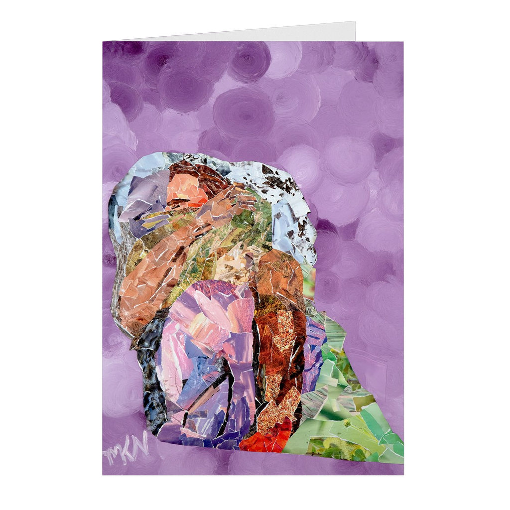 Meghan Nathanson Artistry mother sheltering child collage art on folded greeting card
