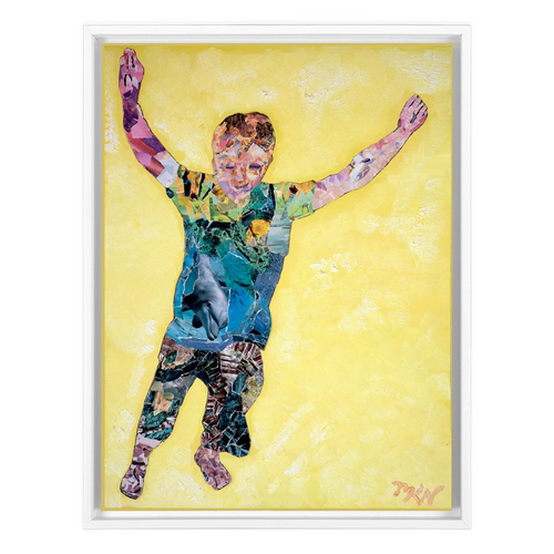 Meghan Nathanson Artistry child leaping collage art on canvas wrap framed