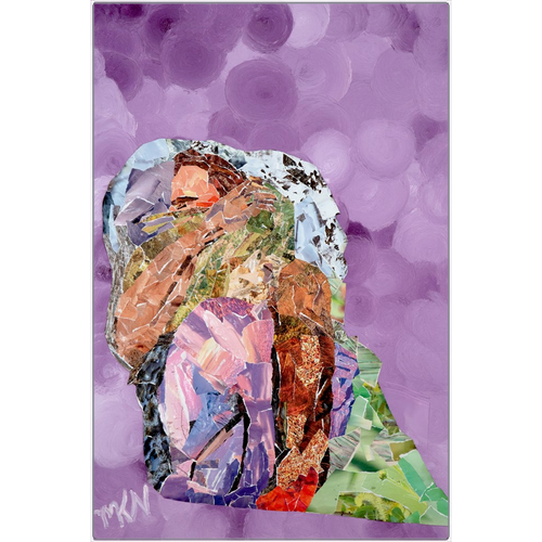 Meghan Nathanson Artistry mother sheltering child collage art on metal print
