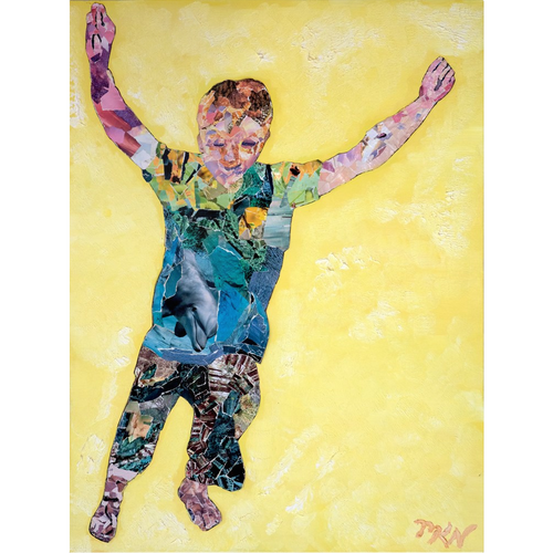 Meghan Nathanson Artistry child leaping collage art on metal print