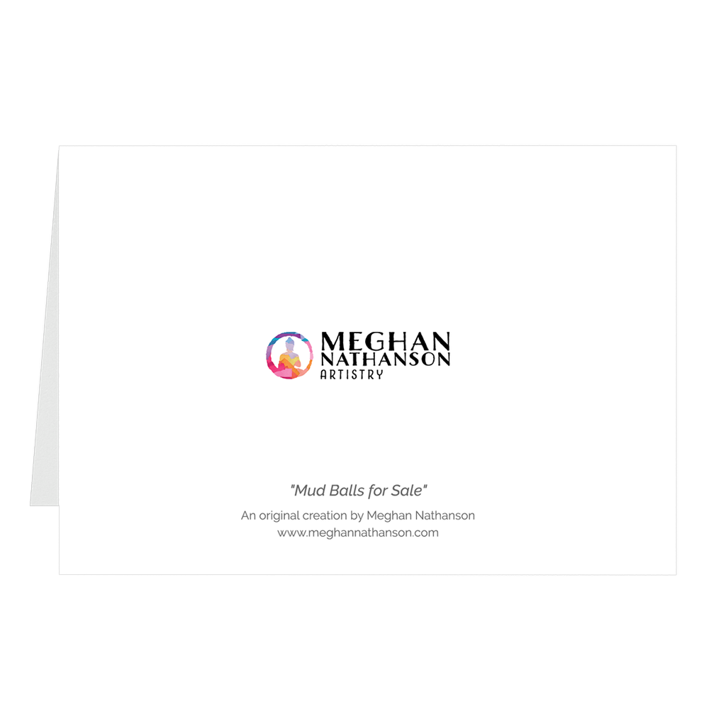 Meghan Nathanson Artistry black and white photo of a child's hands holding a ball of sandy mud on folded greeting card
