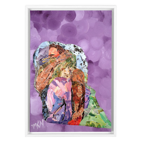 Meghan Nathanson Artistry mother sheltering child collage art on canvas wrap framed