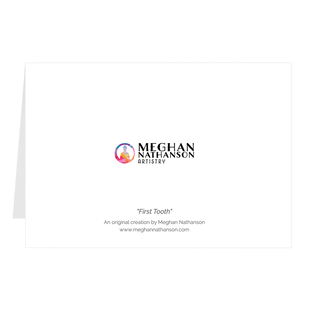 Meghan Nathanson Artistry black and white photo of a child's hand holding their first tooth on folded greeting card