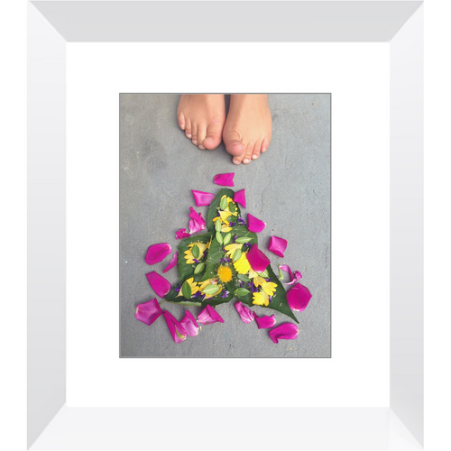 Meghan Nathanson Artistry flower art with child's toes 8x10 framed print
