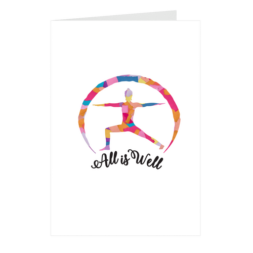 Meghan Nathanson Artistry Artistry All is Well multicolor design yoga warrior pose on folded greeting card