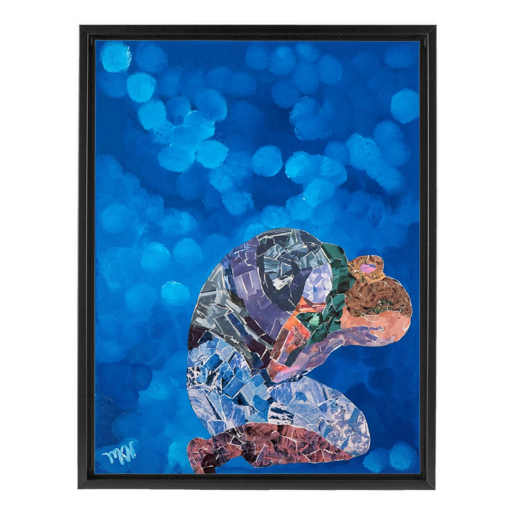 Meghan Nathanson Artistry woman folded collage art on canvas wrap framed