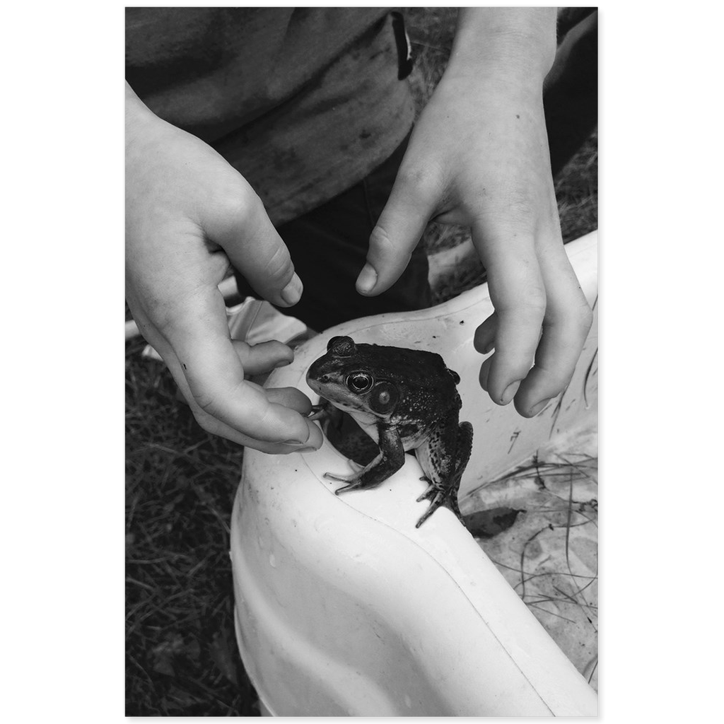 Meghan Nathanson Artistry black and white photo of child and frog on mini canvas print