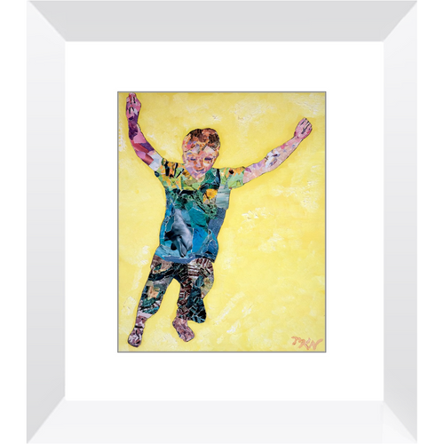 Meghan Nathanson Artistry child leaping collage art framed print
