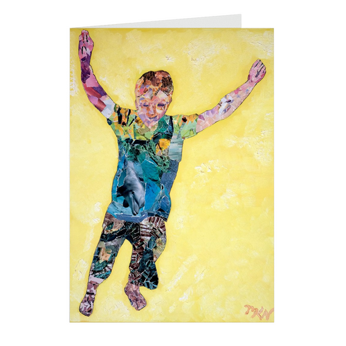 Meghan Nathanson Artistry child leaping collage art on folded greeting card