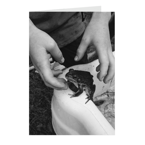 Meghan Nathanson Artistry black and white photo of child and frog on folded greeting card