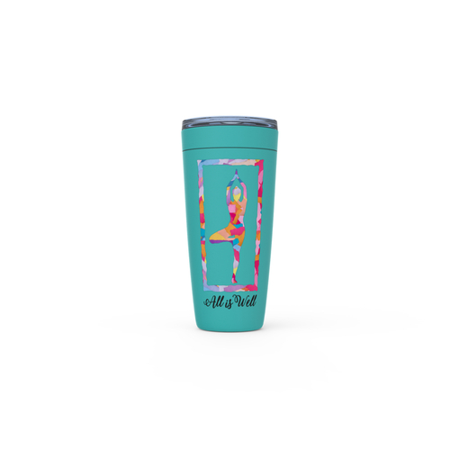 Meghan Nathanson Artistry All is Well multicolor yoga tree pose design 20oz. insulated viking tumbler