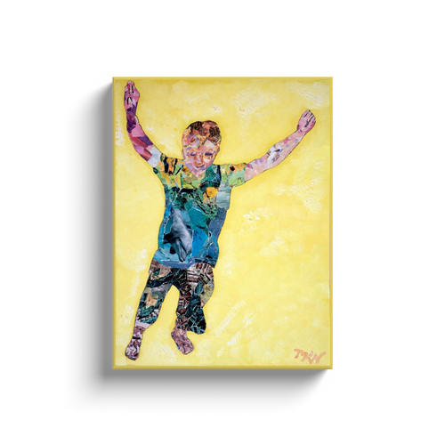Meghan Nathanson Artistry child leaping collage art on canvas wrap