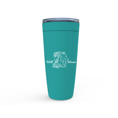 Meghan Nathanson Artistry Wild Woman aqua design 20oz. insulated viking tumbler