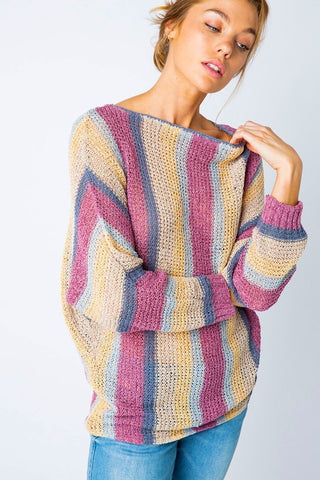 Striped Mauve Chenille Pullover Sweater
