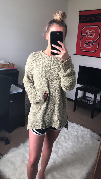 Falling For You Olive Popcorn Sweater