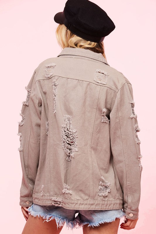 Mindy Distressed Denim Jacket