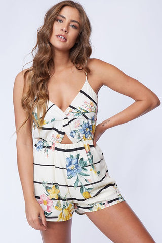 Wait For Me Ivory/Black Floral Romper