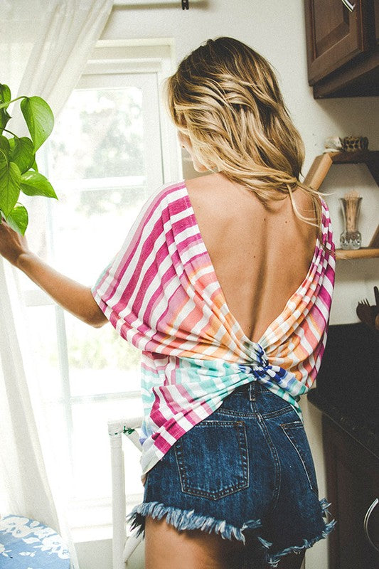 Lola Rainbow Twist-Back Top