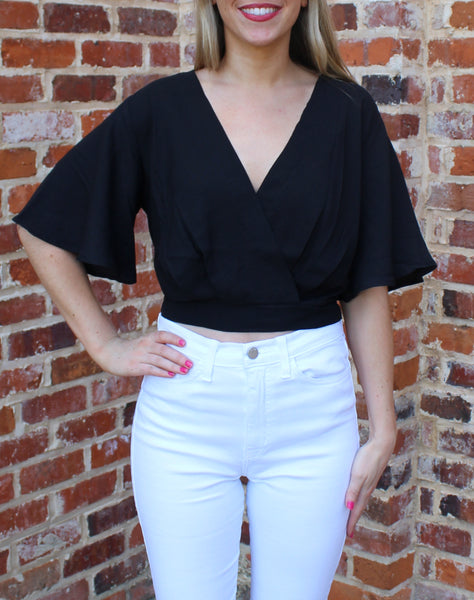 All About You Black Crop Top by Cashmere and Company