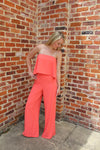Ava Coral Jumpsuit by Cashmere and Company