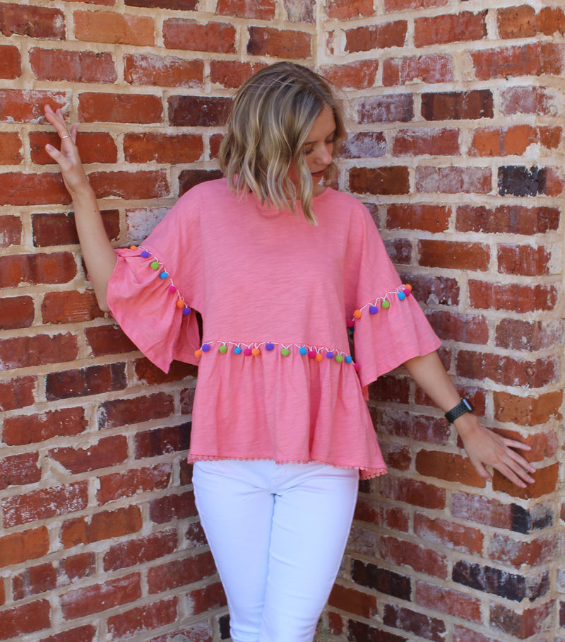Blissful Days Pom Pom Top Coral by Cashmere and Company
