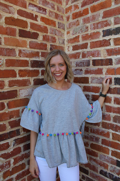 Blissful Days Pom Pom Top Gray by Cashmere and Company