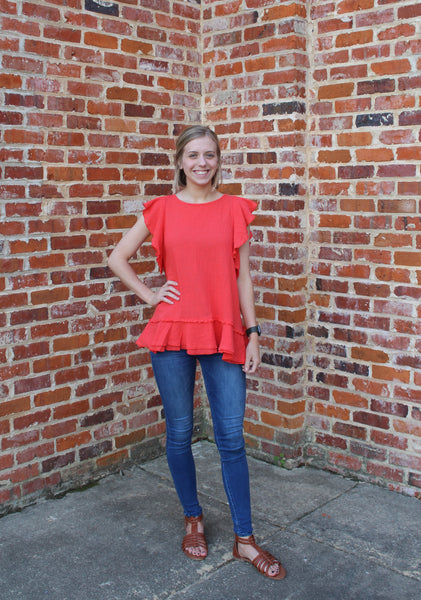 Can't Let You Go Ruffle Sleeve Top by Cashmere and Company