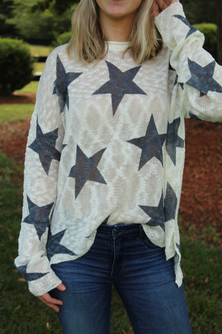 Cream/Navy Star Print Pullover by Cashmere and Company