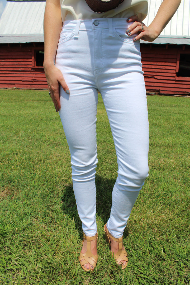Downtown High Waisted White Denim Skinny by Cashmere and Company
