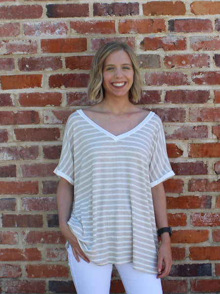 Easy Breezy Oversized Striped Tee by Cashmere and Company