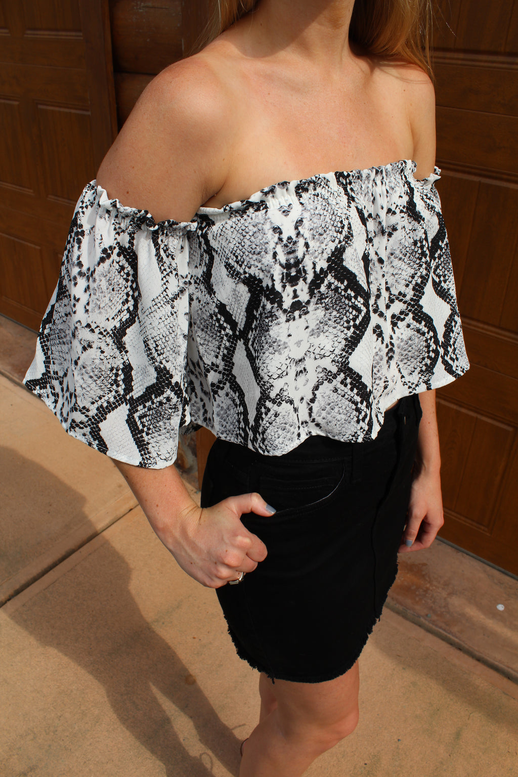 Edge of the Moment Off The Shoulder Snake Print Top by Cashmere and Company