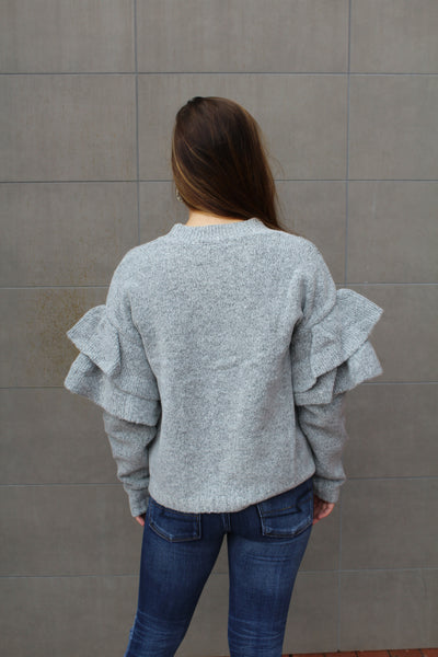 End Up With You Ruffle Sleeve Sweater by Cashmere and Company