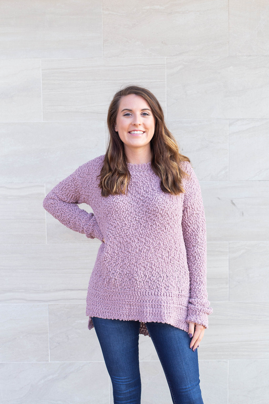Falling For You Mauve Popcorn Sweater by Cashmere and Company
