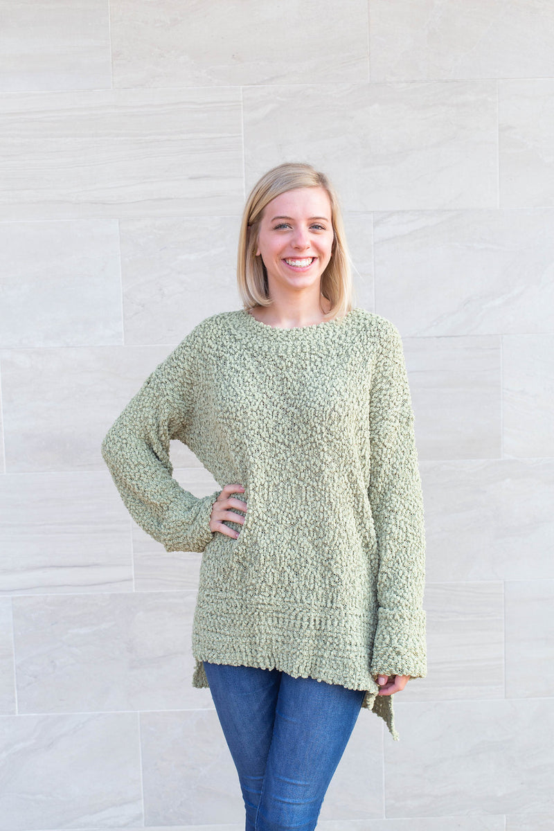Falling For You Olive Popcorn Sweater By Cashmere and Company