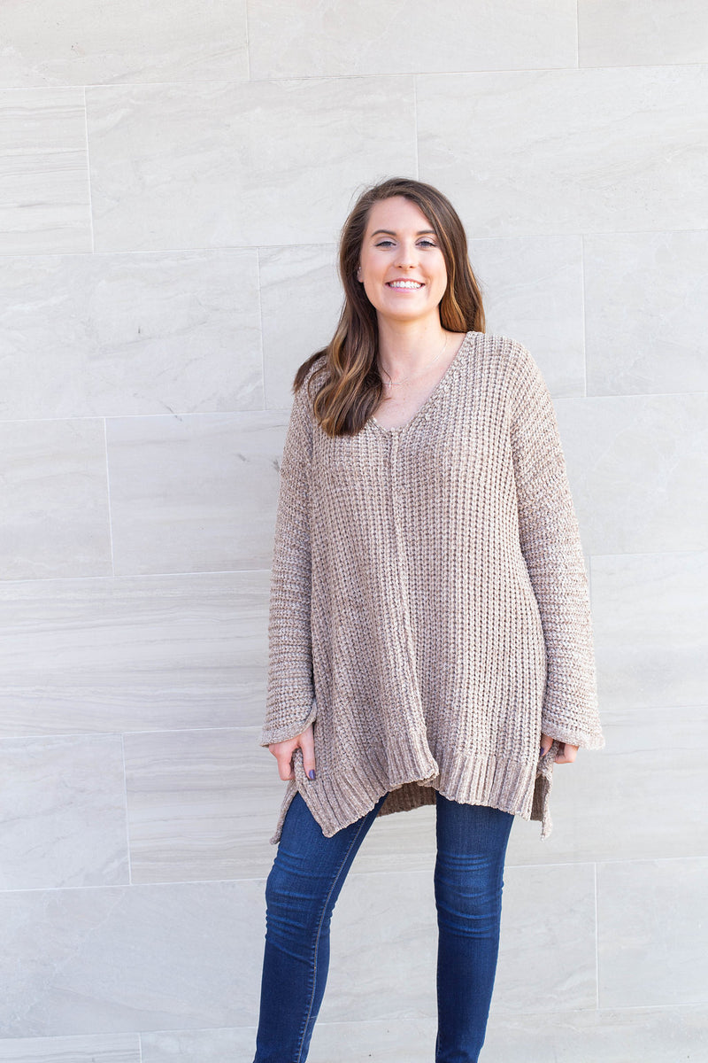 Fuzzy Feelings Taupe Sweater by Cashmere and Company
