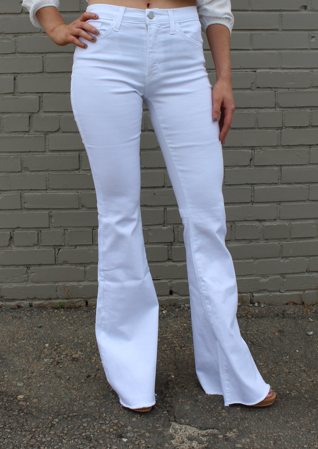 Tonight's The Night Mid Rise White Denim Flare
