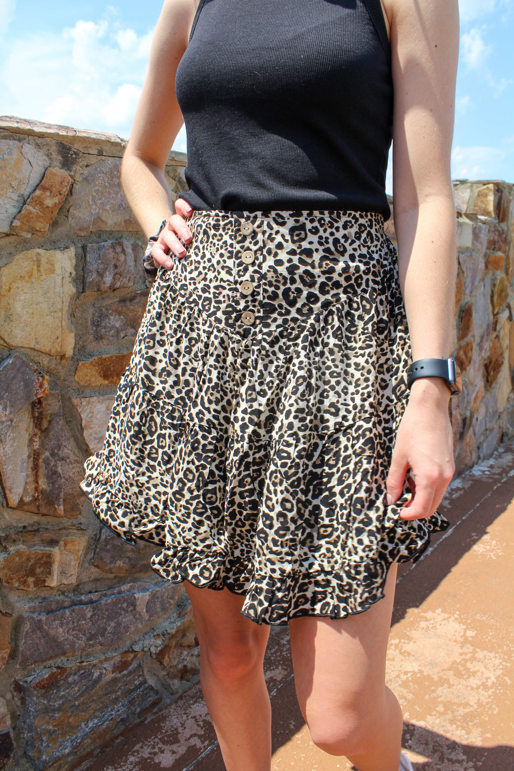 Taupe Leopard Ruffle Skirt