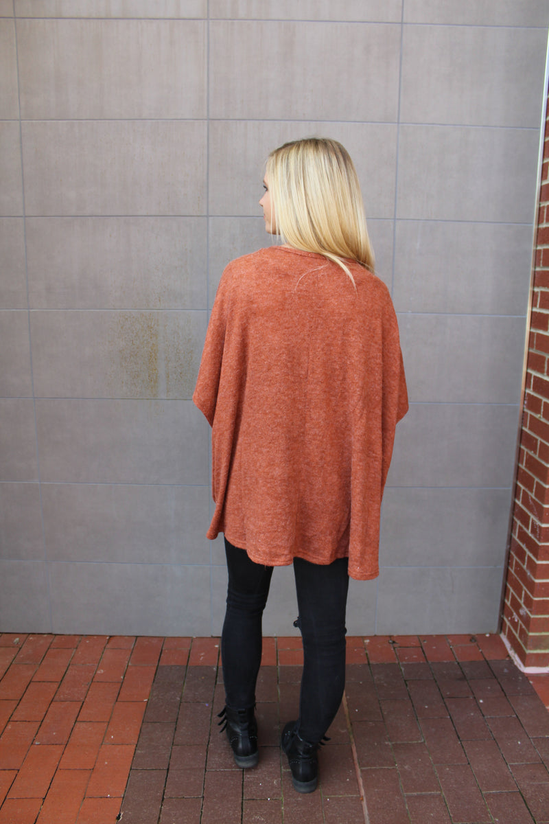 Jamie Brick Surplice Sweater by Cashmere and Company