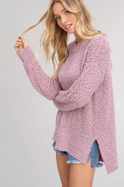 Falling For You Mauve Popcorn Sweater
