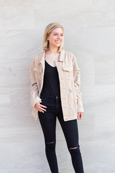 Mindy Distressed Denim Jacket by Cashmere and Company